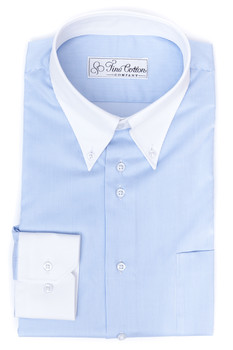 hellblau gestreiftes Business Casual Masshemd mit Button-Down-Kragen