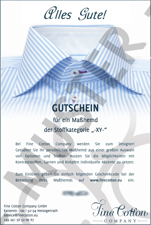 Tailor-Made Shirt Gift Voucher 'Exclusive'